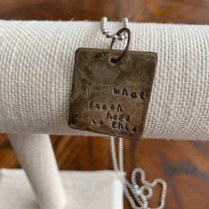 """Jewelry - """"What fresh hell is this"""" stamped pendant …"""